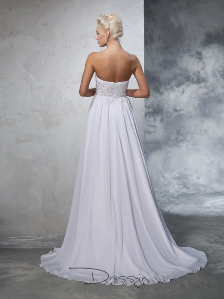 A-Line/Princess Chiffon Sweetheart Sleeveless Beading Long Wedding Dresses