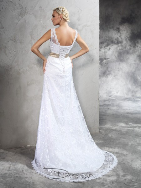 Sheath/Column Satin Sheer Neck Sleeveless Hand-Made Flower Court Train Wedding Dresses