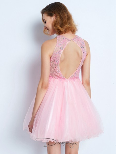 A-Line/Princess Jewel Net Sleeveless Ruffles Short Dresses