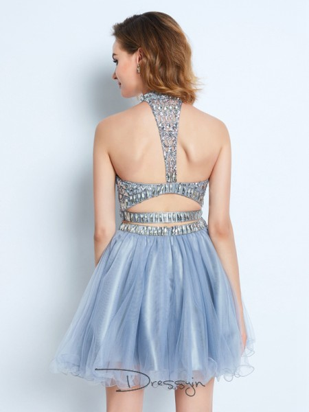 A-Line/Princess High Neck Net Sleeveless Beading Short Dresses