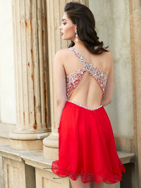 A-Line/Princess One-Shoulder Chiffon Sleeveless Beading Short Dresses