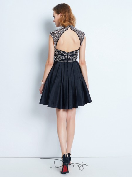 A-Line/Princess High Neck Satin Sleeveless Beading Short Dresses