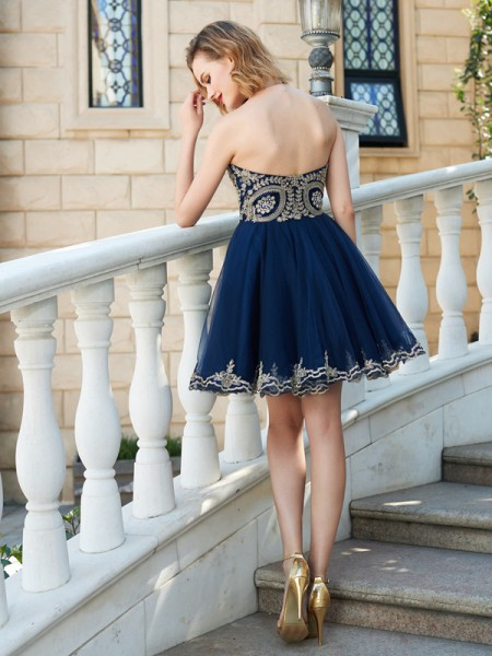 A-Line/Princess Sweetheart Net Sleeveless Applique Short Dresses
