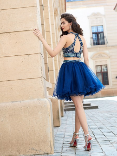 A-Line/Princess Jewel Net Sleeveless Beading Short Dresses