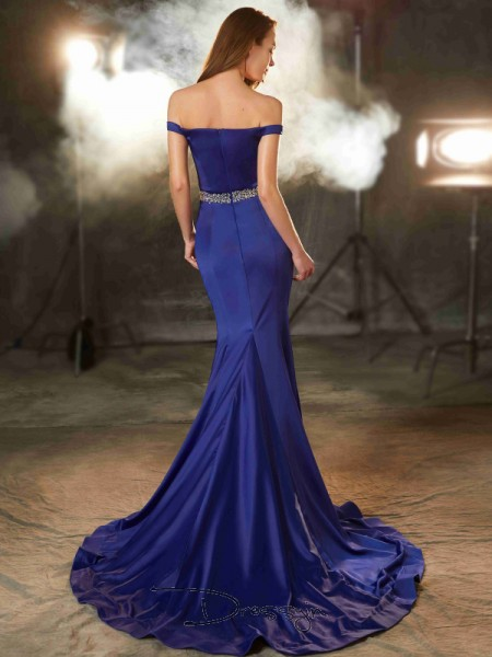 Trumpet/Mermaid Crystal Off-the-Shoulder Sleeveless Satin Long Dress