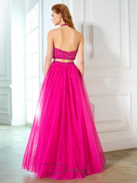 A-Line/Princess Beading Halter Sleeveless Net Long Dress