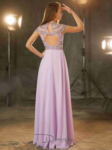 A-Line/Princess Beading Scoop Short Sleeves Chiffon Long Dress