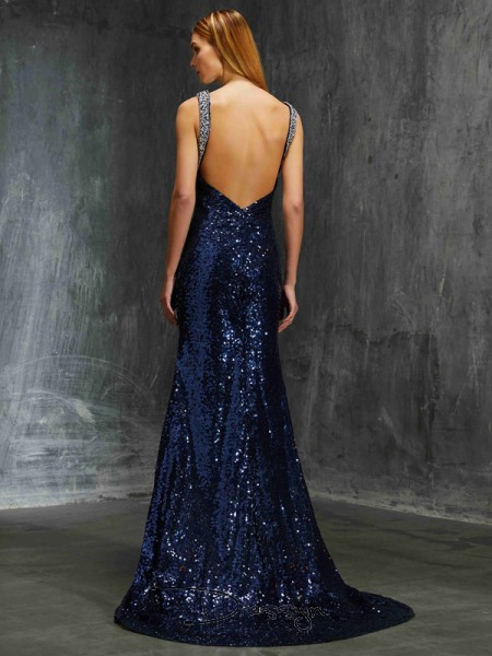 Sheath/Column Beading V-neck Sleeveless Sequins Long Dress