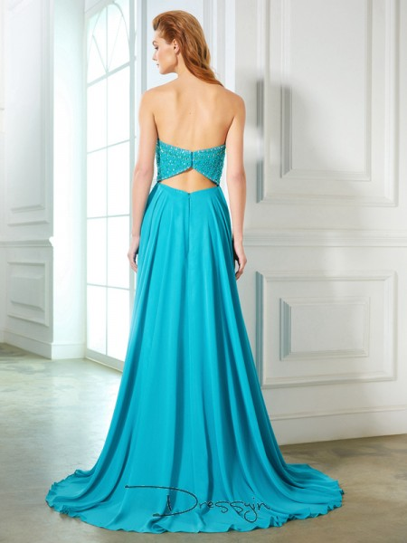 A-Line/Princess Beading Sweetheart Sleeveless Chiffon Long Dress