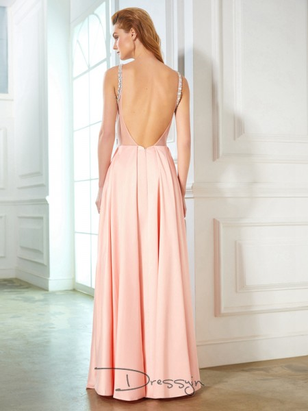 A-Line/Princess Beading Scoop Sleeveless Satin Long Dress