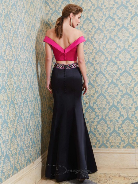 Trumpet/Mermaid Beading Off-the-Shoulder Sleeveless Satin Long Dress