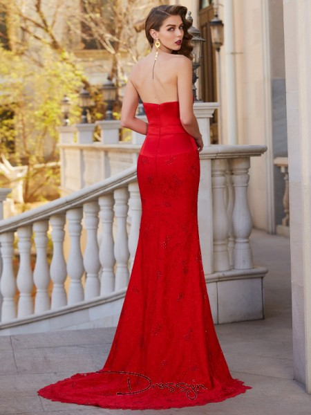 Trumpet/Mermaid Beading Strapless Sleeveless Satin Long Dress