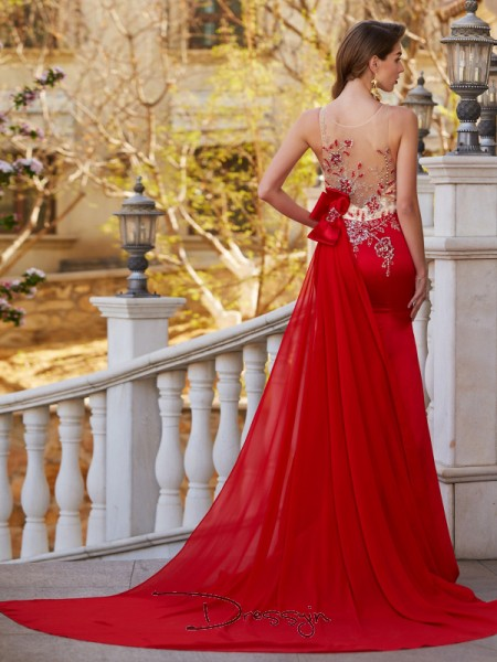 Trumpet/Mermaid Applique Sheer Neck Sleeveless Stain Court Train Dress