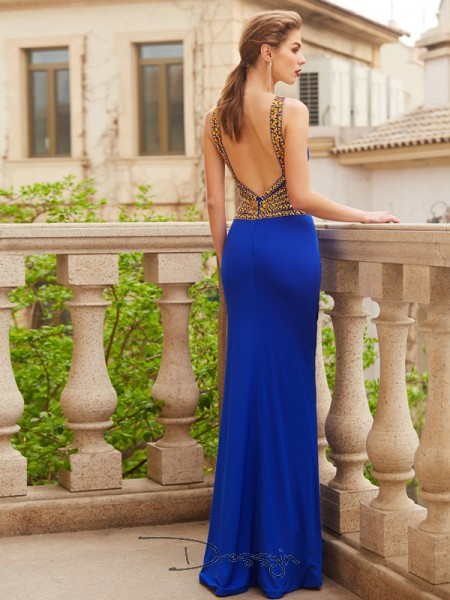 Sheath/Column Beading Scoop Sleeveless Spandex Long Dress