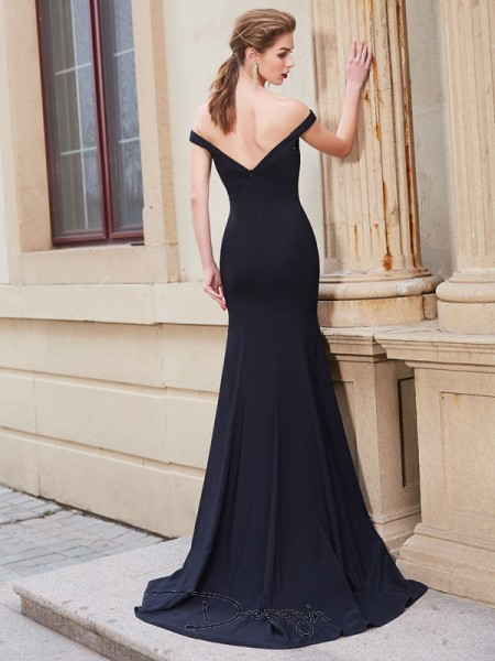 Trumpet/Mermaid Ruffles Off-the-Shoulder Sleeveless Satin Long Dress