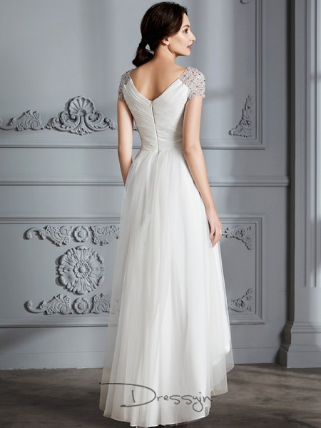 A-Line/Princess Tulle Short Sleeves V-neck High Low Wedding Dresses