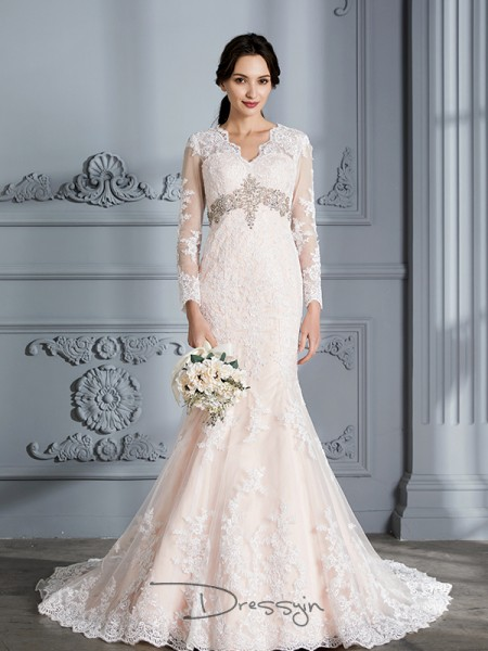 Trumpet/Mermaid Organza Long Sleeves Beading V-neck Long Wedding Dresses