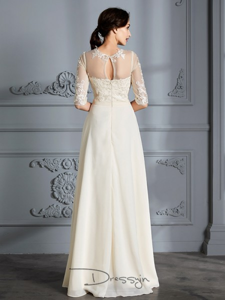 A-Line/Princess Chiffon 1/2 Sleeves Scoop Long Wedding Dresses