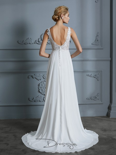 A-Line/Princess Chiffon Sleeveless Lace V-neck Long Wedding Dresses