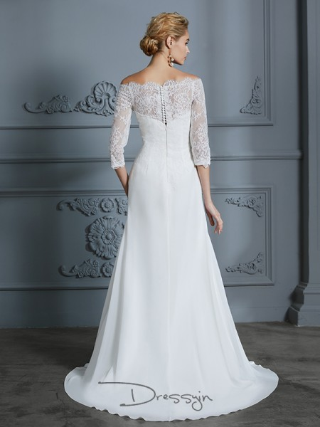 Trumpet/Mermaid Chiffon 1/2 Sleeves Lace Off-the-Shoulder Long Wedding Dresses