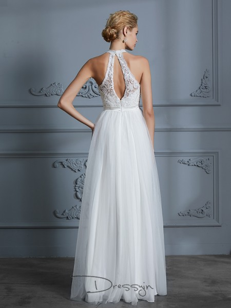 A-Line/Princess Tulle Sleeveless Lace Scoop Long Wedding Dresses