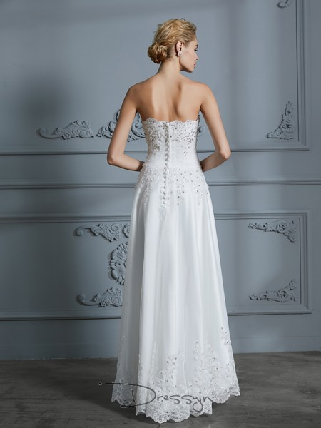 A-Line/Princess Tulle Sleeveless Beading Sweetheart High Low Wedding Dresses
