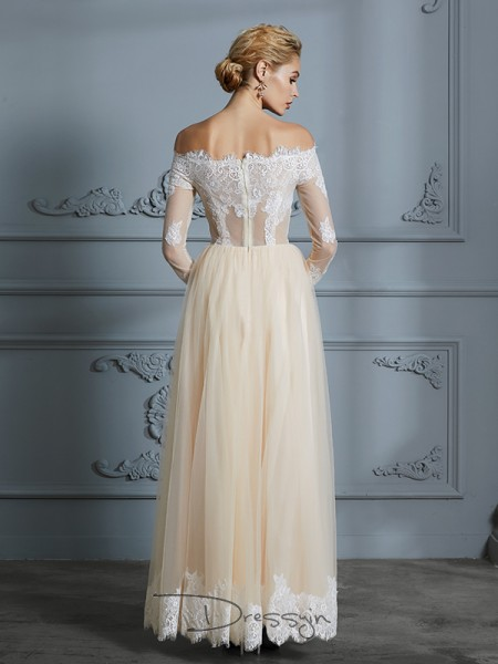 A-Line/Princess Tulle Long Sleeves Lace Off-the-Shoulder Long Wedding Dresses
