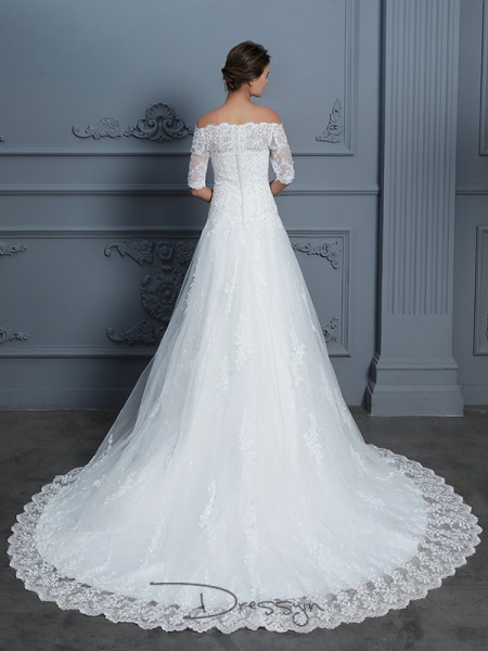 Ball Gown Lace 1/2 Sleeves Beading Off-the-Shoulder Court Train Wedding Dresses