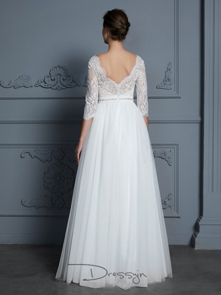 A-Line/Princess Tulle 3/4 Sleeves Lace V-neck Long Wedding Dresses