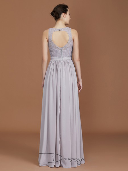 A-Line/Princess Lace Scoop Sleeveless Chiffon Long Bridesmaid Dress