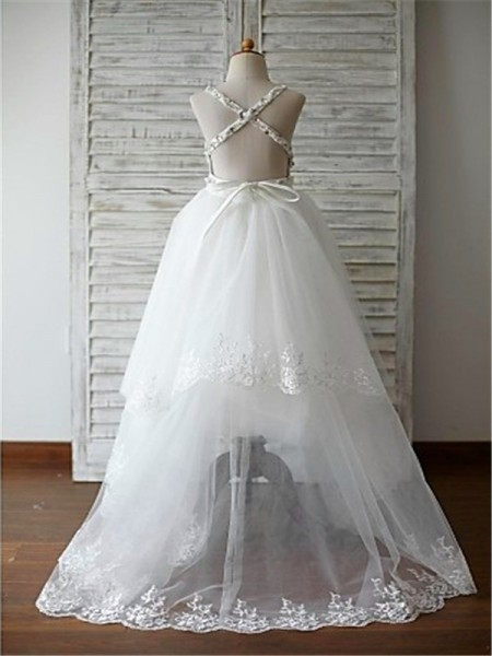 A-Line/Princess Sweep/Brush Train Beading Spaghetti Straps Sleeveless Tulle Flower Girl Dress