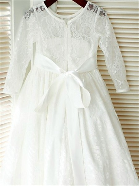 A-Line/Princess Ankle-Length Bowknot Scoop Long Sleeves Lace Flower Girl Dress