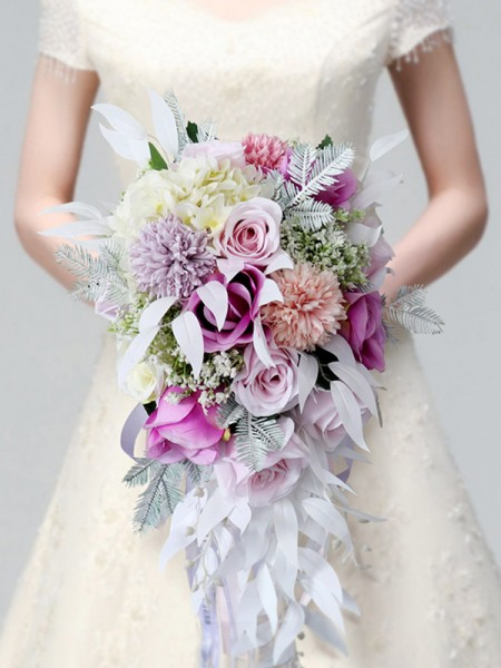Cascade Bridal Bouquet with Purple Roses Lilies Silk Flower