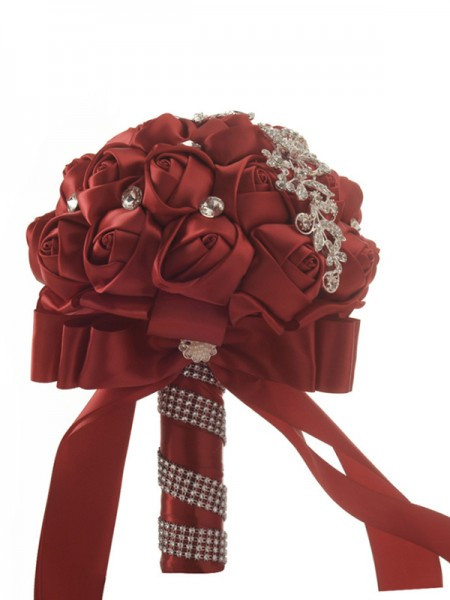 Charming Round Red Satin Bridal Bouquets