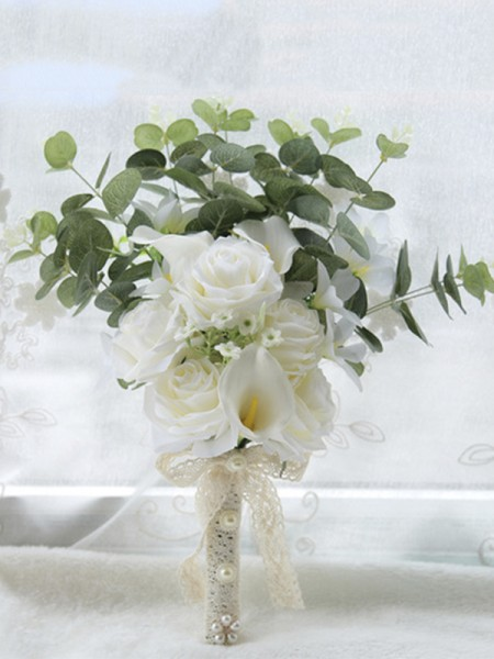 Sweet Free-Form Artificial Flower White Bridal Bouquets