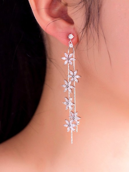 Beautiful Copper With Flower Hot Sale Drop Earrings