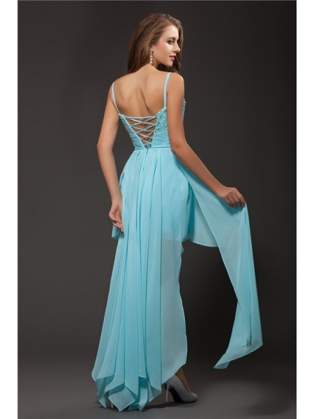 A-Line/Princess Spaghetti Straps Rhinestone Sleeveless Chiffon High Low Dresses