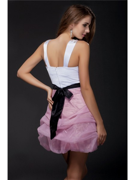 Ball Gown V-neck Sash/Ribbon/Belt Beading Sleeveless Elastic Woven Satin Organza Short Dresses