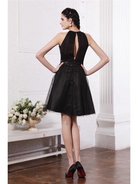 A-Line/Princess Scoop Hand-Made Flower Sleeveless Net Short Dresses