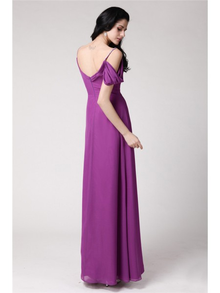 Sheath/Column Spaghetti Straps Pleats Sleeveless Chiffon Long Bridesmaid Dresses