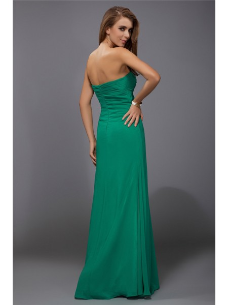 Sheath/Column Strapless Ruffles Sleeveless Chiffon Long Bridesmaid Dresses