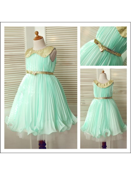 A-Line/Princess Scoop Sequin Flower Girl Dress with Chiffon