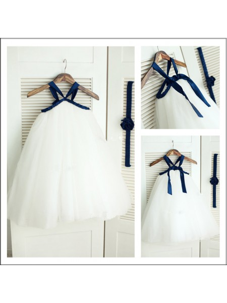 A-Line/Princess Spaghetti Straps Sleeveless Tulle Tea-Length Flower Girl Dresses