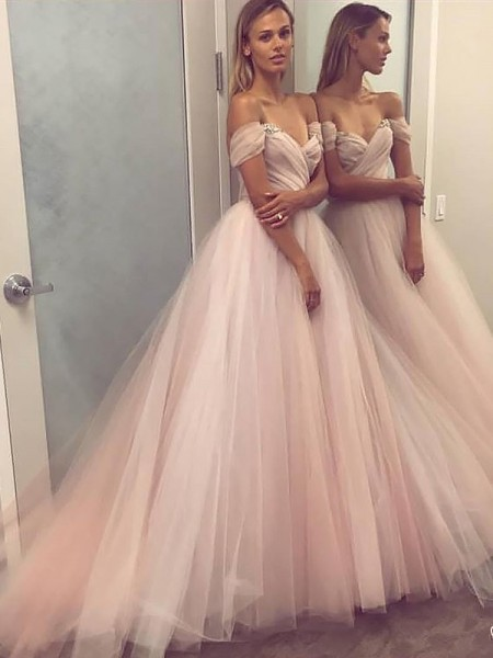 A-Line/Princess Off-the-Shoulder Beading Sleeveless Tulle Long Dresses