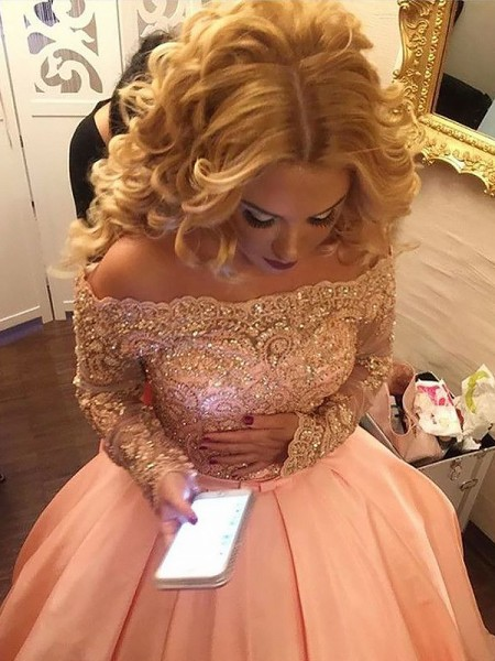 Ball Gown Off-the-Shoulder Beading Long Sleeves Satin Court Train Dresses