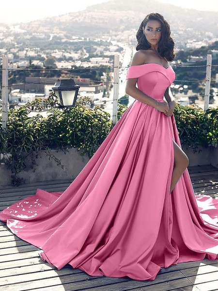 A-Line/Princess Off-the-Shoulder Ruffles Sleeveless Satin Court Train Dresses