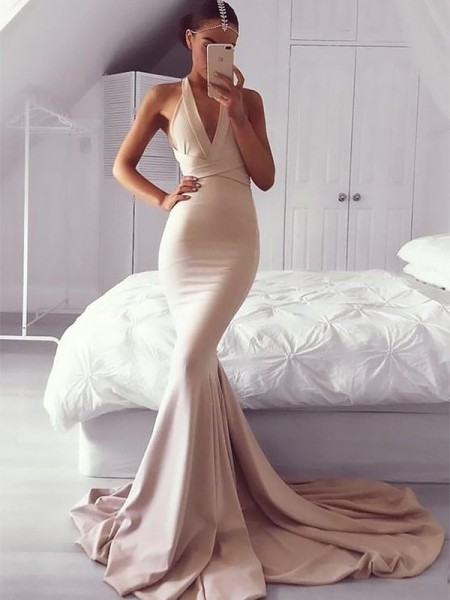 Trumpet/Mermaid V-neck Ruffles Sleeveless Spandex Long Dresses