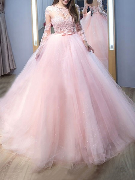 Ball Gown Jewel Lace Long Sleeves Tulle Long Dresses