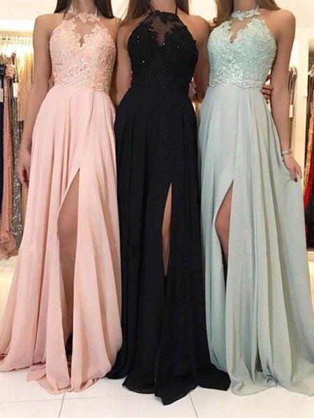 A-Line/Princess Halter Applique Sleeveless Chiffon Long Dresses