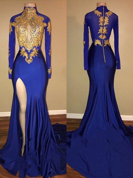 Trumpet/Mermaid High Neck Applique Long Sleeves Spandex Long Dresses